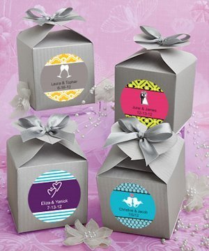 Personalized Silver Heart-Topped Favor Box image