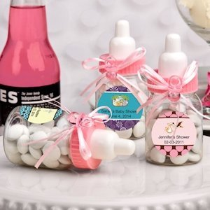 Design Your Own Collection Pink Baby Bottle Favors image