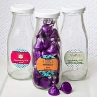 Personalized Classic Glass Birthday Design Milk Bottle Favor