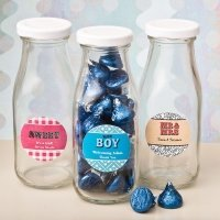 Personalized Classic Glass Marquee Design Milk Bottle Favors