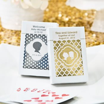 Personalized Metallic Wedding Collection Playing Card Favors image