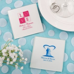 Silkscreened White Glass Coaster Wedding Favors image