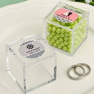 Personalized Acrylic Cubic Wedding Favor Box image