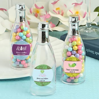 Personalized Tropical Design Silver Champagne Bottle Favor image