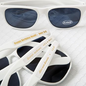 Personalized Metallics Collection White Sunglasses Favors image