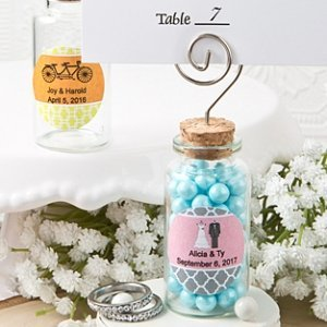 Personalized Perfectly Plain Glass Jar Place Card Holder image