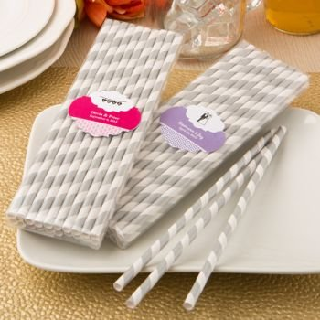 Customized Silver and White Stripe Wedding Design Paper Stra image