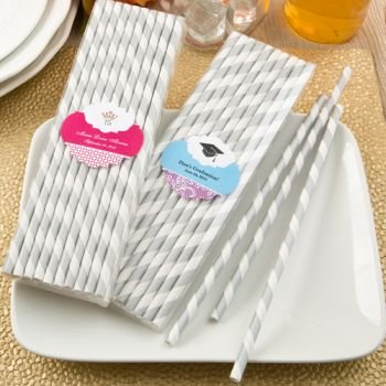 Customized Celebrations Silver and White Paper Straw Packs image