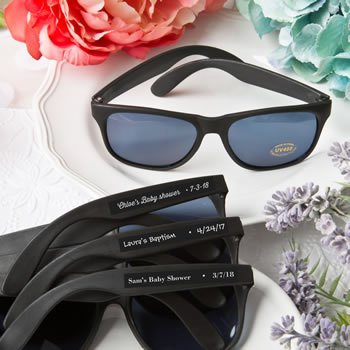 Personalized Baby Shower Cool Black Sunglasses image