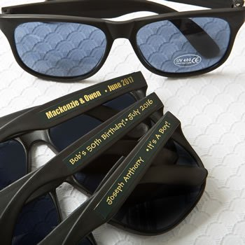 Personalized Metallics Collection Black Sunglasses Favors image