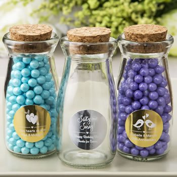 Personalized Metallic Vintage Glass Milk Bottle Favor image
