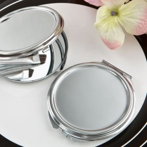 Perfectly Plain Collection Silver Metal Mirror Favors image