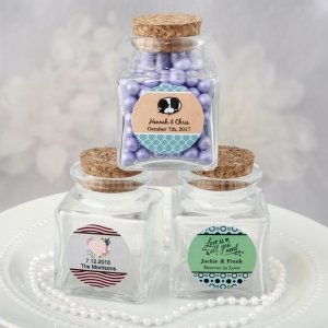 Personalized Wedding Expressions Square Glass Treat Jars image