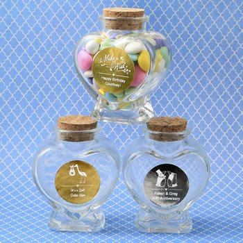 Personalized Celebrations Heart Shape Glass Jar Favors image
