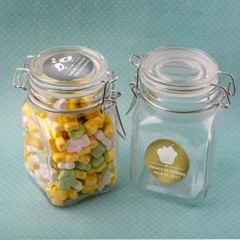 Personalized Metallic Celebrations Hinged Apothecary Jar image