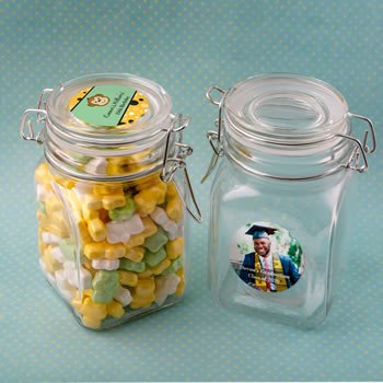 Personalized Celebrations Large Glass Hinged Apothecary Jar image