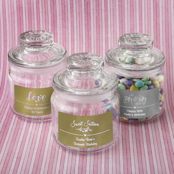 Personalized Metallic Celebrations Glass Jar with Sealed Cov image
