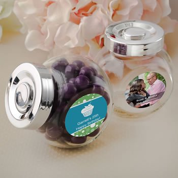Personalized Celebration Candy Jar with a Silver Seal Lid image
