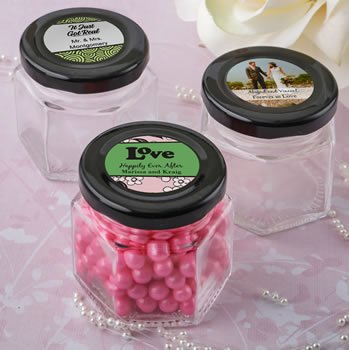 Personalized Wedding Designs Small Hex Jar Favors image