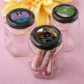 Personalized Celebration Black Lid Hex Shaped Jelly Jar image
