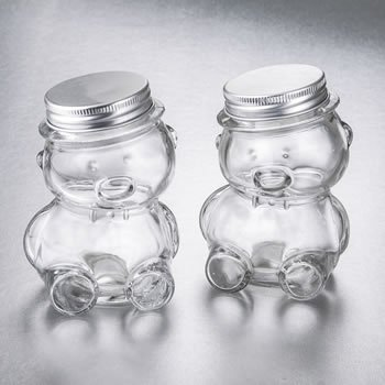 Perfectly Plain Collection Teddy Bear Jar with Matte Silver image
