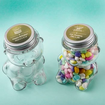 Personalized Metallic Celebration Teddy Bear Favor Jars image