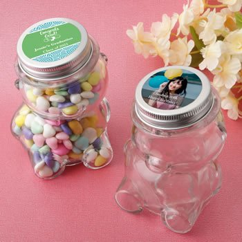 Personalized Celebrations Teddy Bar Favor Jar with Silver Li image