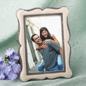 Victorian 4x6 Wedding Photo Frame Favors with Enamel Inlay image