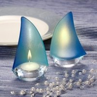 Blue Frosted Glass Sailboat Favor Candle Holders