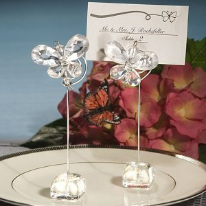 Clear Crystal Butterfly Place Card Holders image