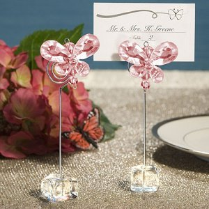 Pink Crystal Butterfly Place Card Holders image