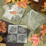 Maple Leaf Frosted Glass Coasters (Set of 2)