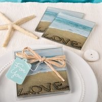 Beach Love Themed Glass Coasters Set