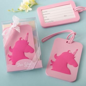 Pink Unicorn Design Luggage Tag Favors image
