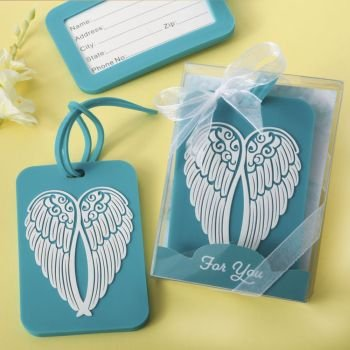 Turquoise Angel Wing Design Luggage Tag image