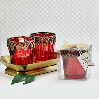 Red Mercury glass East Asian themed   Candle votive image