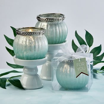 Mint green ombre vintage mercury glass  votive candle holder image