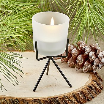 Trendy Frosted glass candle with metal base image