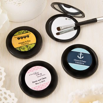 Personalized Wedding Black Compact Mirror Favors image