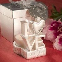 Stacked 'Love' Design Candle Wedding Favor