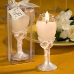 Double Heart Design Champagne Flute Candle Holders