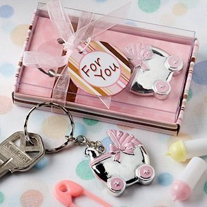 Pink Baby Carriage Keychain Favors image
