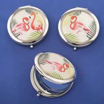 Flamingo Compact Mirror Favors - 3 Assorted Designs image