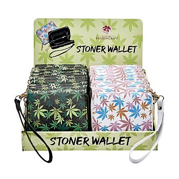 leaf design wallet with hand strap - 2 assorted colors image