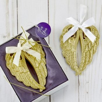 Soft Gold Angel Wing Ornament Favor image