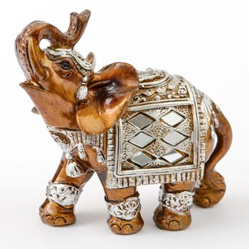 Mahogany and Silver Elephant Statue Favor image