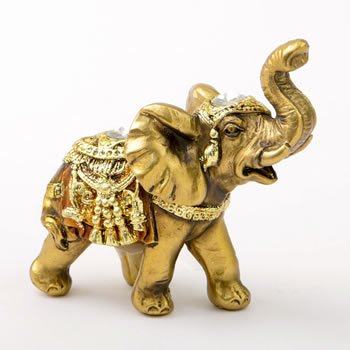 Mini Gold Elephant Statue with Jewels image