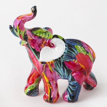 Tropical floral elephant - small size image