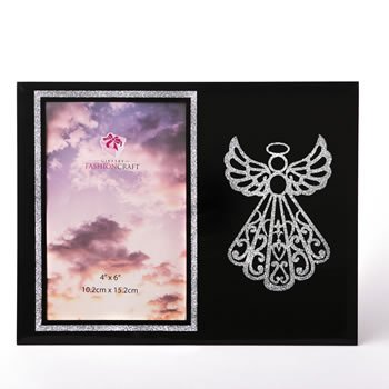 silver angel on black 4 x 6 frame from Gifts by Fashioncraft image
