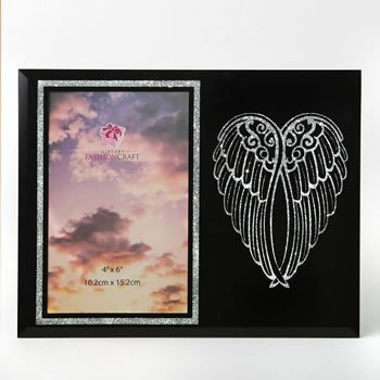silver angel wings on black 4 x 6 frame image